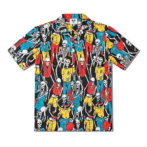 Camicia da Uomo Manica Corta da Uomo Camicia da Uomo con Stampa Scheletro T-Shirt da Uomo Camiciaa Maniche Corte AllentataStileHiphop da Uomo