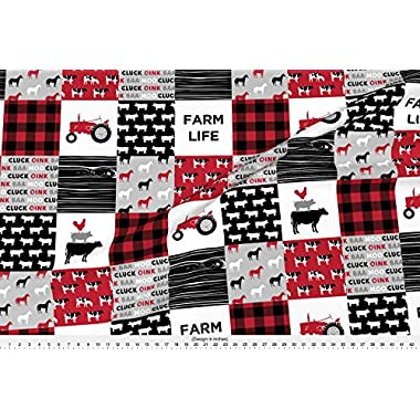 Spoonflower Farm Life Fabric Farm Life Wholecloth - Black And Red Woodgrain by Littlearrowdesign Printed on Fleece Fabric by the Yard