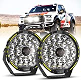 Auxbeam 270W Round Led Work Light, 9 Inch Driving Lights with Adjustable Mounting Bracket, 37776LM Offroad Lights with DT Connector Wiring Harness Kit for Truck, Jeep Wrangler, Pickup, ATV, UTV-2PCS