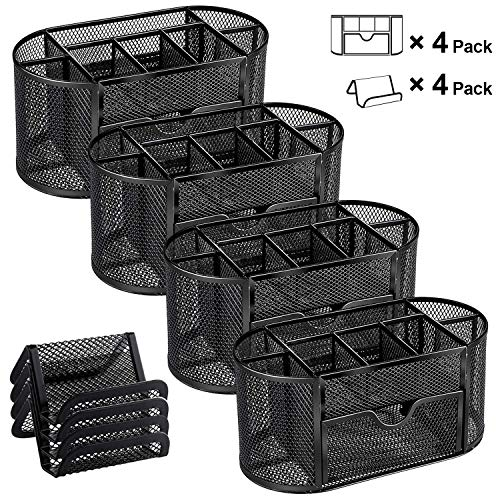 MaxGear Mesh Desk Organizers with Drawer, Office Desk Organizer Metal Pen Holder Pencil Organizer for Desktop Black Pencil Cup Storage Caddy, 9 Compartments, 8.75 x 4.5 x 4 inch, 4 Pack