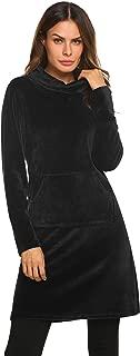 Women's Long Sleeve Plush Nightgown Flannel Sleepwear Knee Length Pullover Loungewear