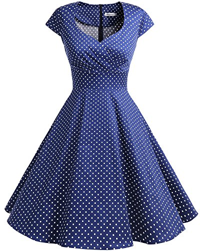 bbonlinedress 1950er Vintage Retro Cocktailkleid Rockabilly V-Ausschnitt Faltenrock Navy Small White Dot L