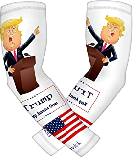 Dovick Sports Compression Sleeve Arm Trump Cartoon Style 2pcs/Pack Youth & Adult 6 Sizes Baseball Football Basketball Golf Tennis Cycling Sports (Trump A1, S)