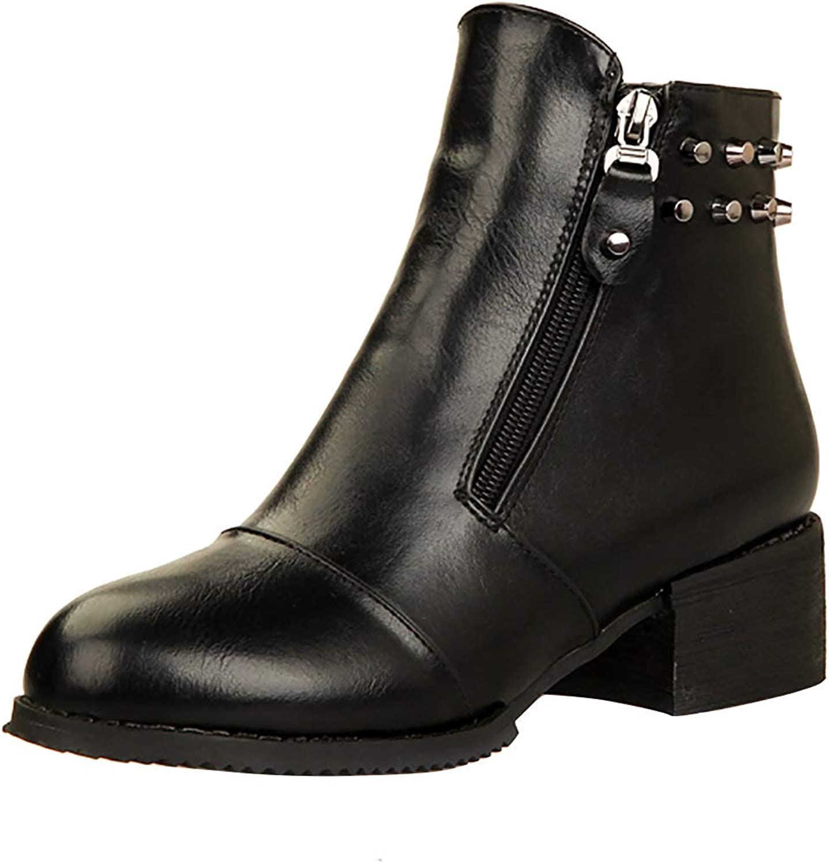 MAYPIE Women's Fashion Round Toe Studded Block Heel Zipper Ankle Boots