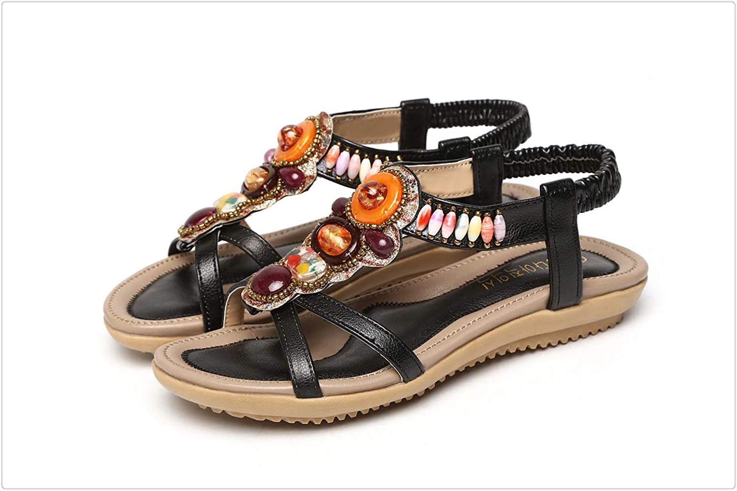Yyixianma Summer Ladies Sandals Bohemia Flat Sandals Women Crystal Outdoor Beach shoes Female Casual shoes Black 38