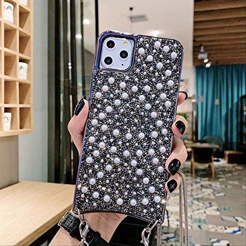 Glitter Pearl Bling Crystal Necklace Lanyard Phone Case para iPhone 11 Pro MAX X XR XS 7 8 6 6s Plus Fundas Cord Crossbody Cover para iPhone X o XS B