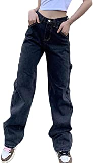 Women's Casual Baggy Hip Hop Pants Lightweight High Waist Straight Leg Jeans Water Wash Fashion Skateboard Denim Trousers