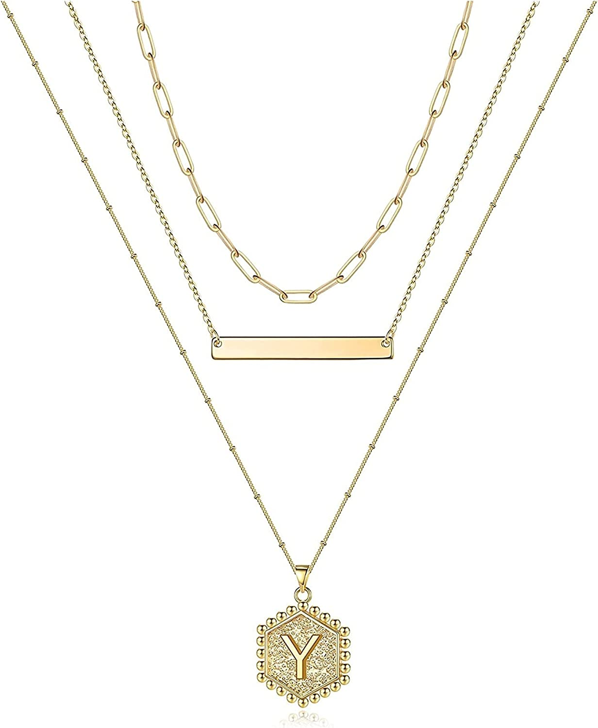 Jsmhh Gold LayeredNecklaces for Women 14K Gold Plated Bar Necklace Handmade Layering Hexagon Letter Pendant Beads Chain Necklace Layered Necklaces for Women Gold Jewelry Gifts (Color : Y)