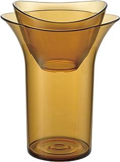 リッチェル デコレア バルブベース(水耕栽培ポット) スモークブラウン 約幅12.1×奥行9.1×高さ15.8cm