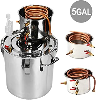 Slsy 5 Gallon Moonshine Still Water Alcohol Distiller, 18 Liters DIY Whiskey Still Stainless Steel Spirits Boiler with Copper Tube, Home Brew Wine Making Kit