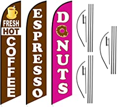 Fresh Hot Coffee Espresso Donuts Cafe Advertising Feather Flag Kits Package, Includes 3 Banner Flags, 3 Flag Poles, and 3 Ground Stakes
