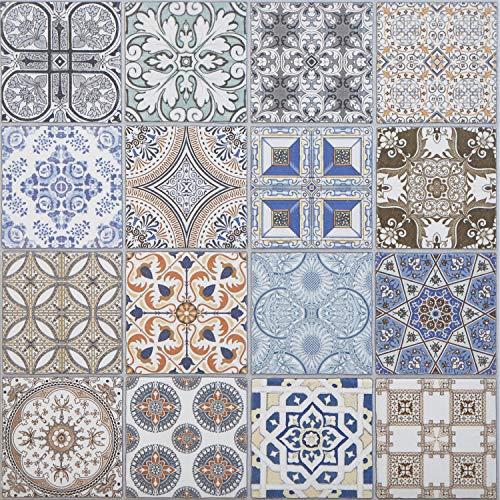 Casa Moro Orientalische Keramikfliesen Habib 44,1 x 44,1 cm 1 qm | Marokkanische Patchwork Fliesen für schöne Küche Flur Bad & Küchenrückwand | FL6030