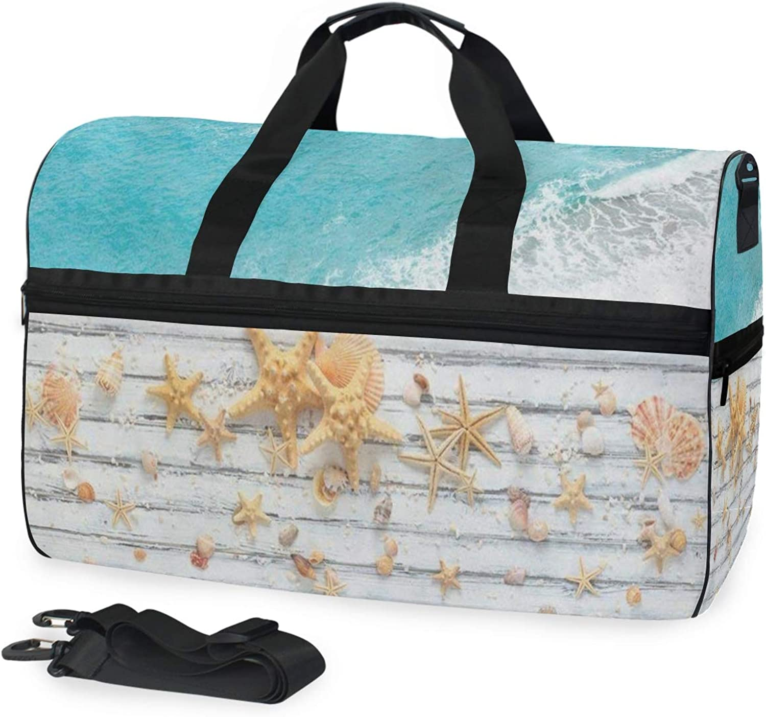 75a159d78be82 Travel Gym Bag Beach Starfish Seashell Beautiful Weekender Bag with ...