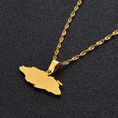 BACKZY MXJP Necklace Bahamas Andros Nassau Island Map Gold Color and Silver Color Jewelry