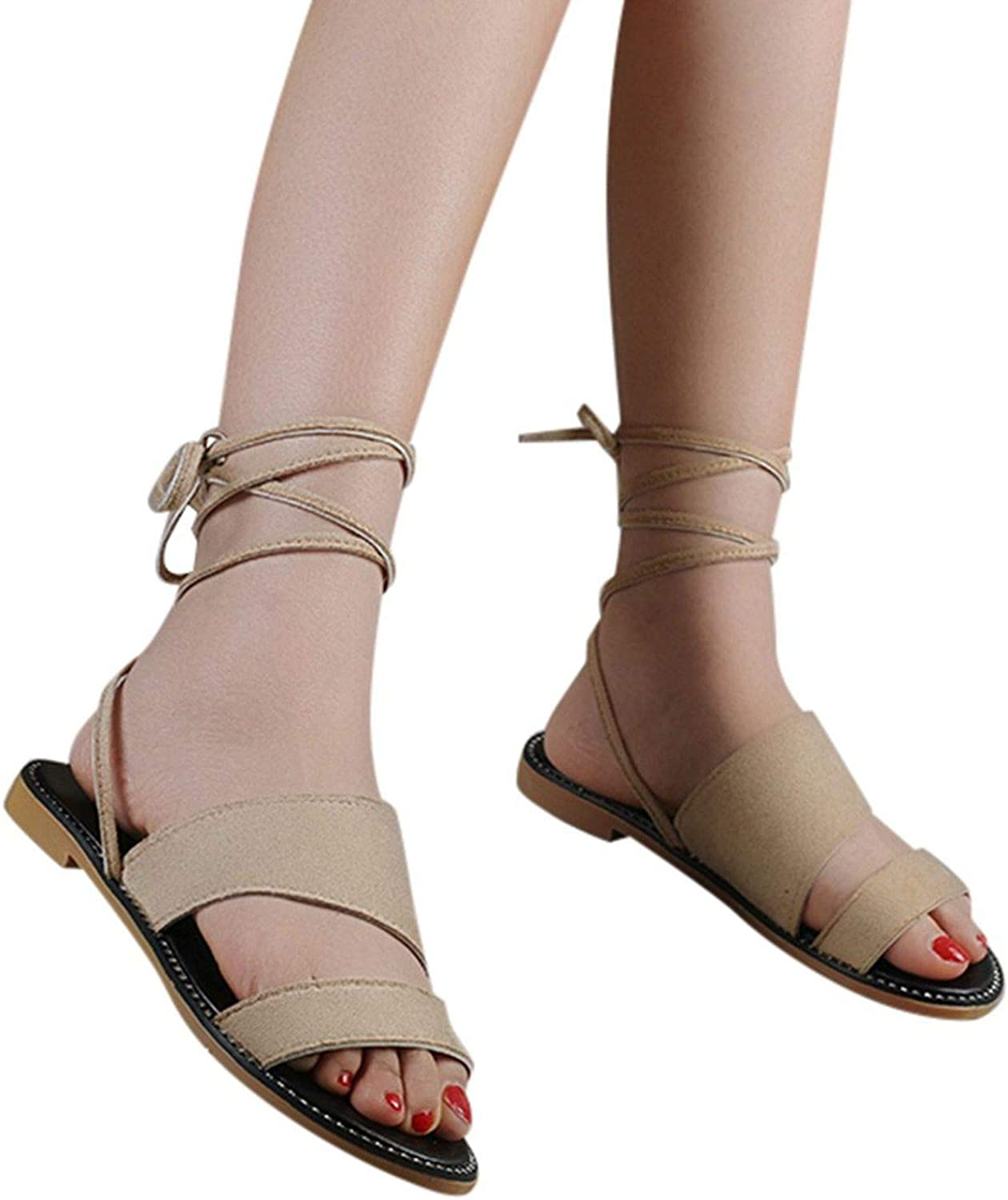 FINDYOU Women's Sandals Ankle Strap Summer Ladies Beach Party shoes Flat Heels Sandal for Girls Casual Rome Open Toe