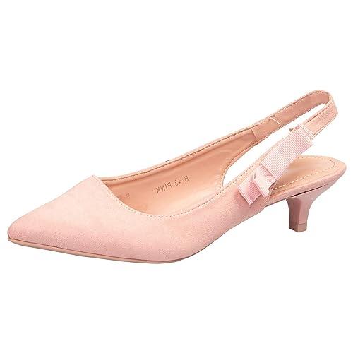 e568a831c07dc Feet First Fashion Alora Womens Low Kitten Heel Slip On Slingback Pumps