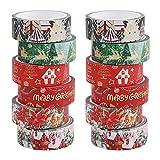 Set de cinta washi navideña,Cinta adhesiva Washi navideña de 12 rollos,Cinta de papel de aluminio decorativa para envolver regalos de tarjetas de Navidad, diario,decoraciones para fiestas de Navidad