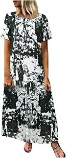 Women Short Sleeve Maxi Dress, Ladies Tie-dyed Printed Loose Party Long Dress