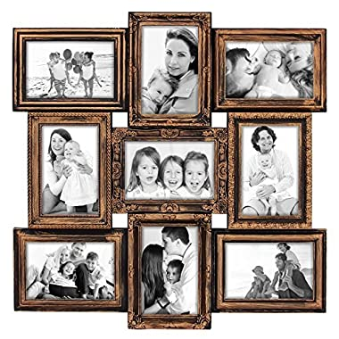 Hello Laura 9 Opening 18  x 18  inch Wall Hanging Photo Frame, 4 x 6 inch Photo Sockets x 9, Black Frame Edge | Gallery Style