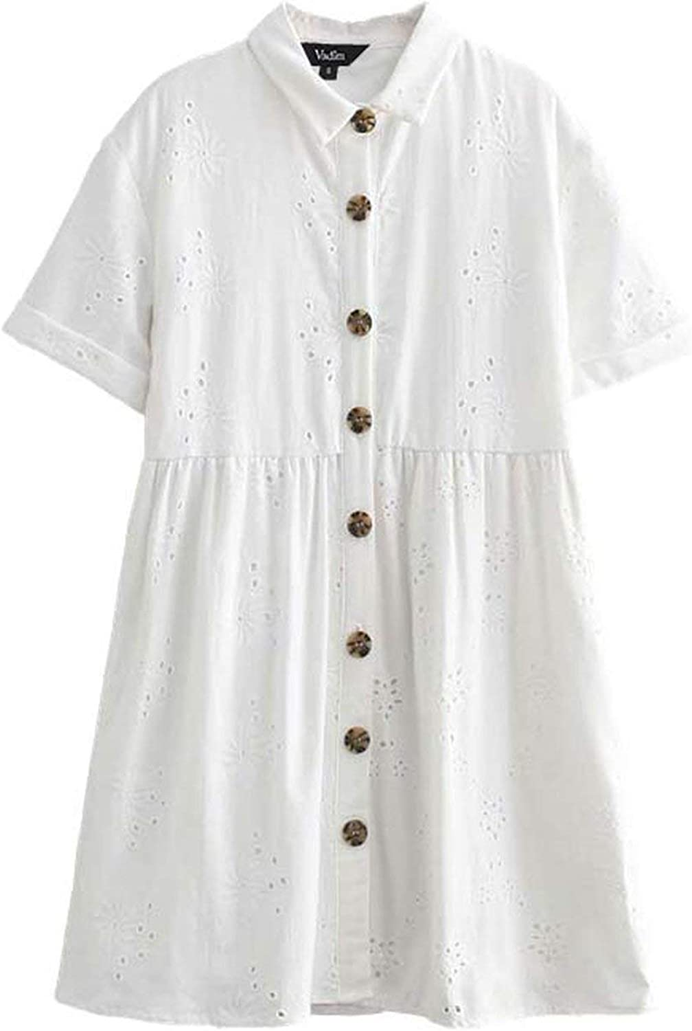 Women Embroidery Hollow Out Mini Dress Short Sleeve Turn Down Collar White Sweet Casual Shirt Dresses