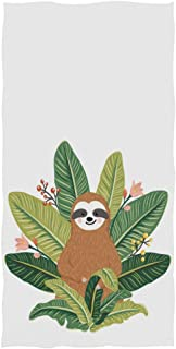 Naanle Cute Baby Sloth Sitting Among Tropical Leaves Soft Bath Towel Highly Absorbent Large Hand Towels Multipurpose for Bathroom, Hotel, Gym and Spa (16