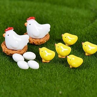 DIY 13PCS Hen Chicken Chick Egg Nest,Small Pasture Statue Miniatures Ornament For Fairy Garden Dollhouse Plant Decoration