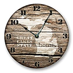 MICHIGAN STATE HOMELAND CLOCK -GREAT LAKES HOME STATE - Large 10.5 Wall Clock - Printed Wood Image- MI_FT