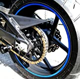 CaliBikerClub Blue Reflective Wheel Rim Stripe Decal Tape for Motorcycle Wheels 17' or Car Wheels 16'-18'