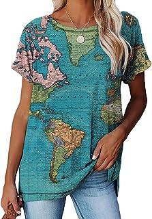 Women World Map Printed Retro Style Round Neck Short Sleeve T-Shirt
