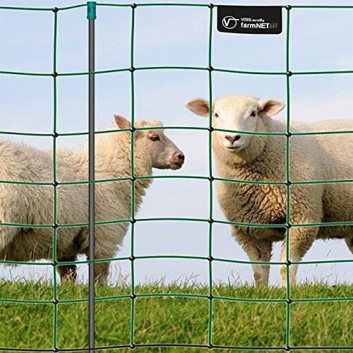 VOSS.farming Rete per pascoli di Pecore, per recinzioni elettrificabili farmNET 50 m, Altezza 90 cm, a Punta Singola, 14 Pali, Colore Verde
