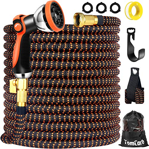 """TomCare Garden Hose 100ft Expandable Garden Hose Water Hose Flexible Garden Hose with 10 Function Spray Nozzle 3/4"""" Solid Brass Fittings Extra Strength 3750D Expanding Hose for Shower Watering Washing"""