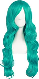 MapofBeauty 24 Inch/60cm Charming Synthetic Fiber Long Wavy Hair Wig Women's Party Full Wig (Dark Turquoise)