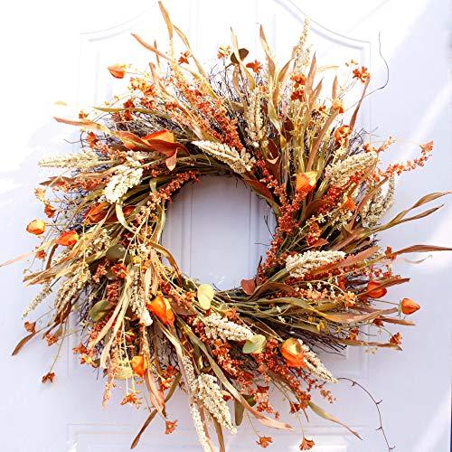 Dseap Wreath - 24 Inch Fall Wreath, Straw Wreath, Farmhouse Door Wreaths for Front Door Autumn, DRUI-24IN