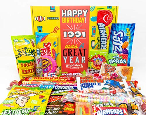 Woodstock Candy ~ 1991 30th Birthday Gifts for Women and Men ~ Vintage Assorted Candy for Him or Her ~ Retro Snack Pack for 30 Year Old Man or Woman ~ Nostalgic Candy Present Box