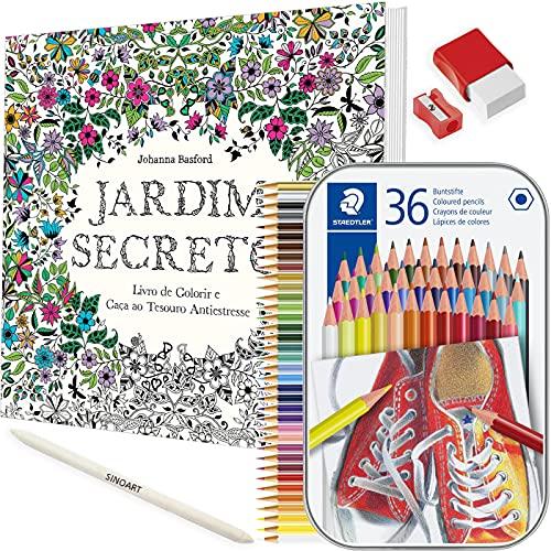 Kit Livro de Colorir Antiestresse Jardim Secreto + Lápis Colorido Staedtler e mt+