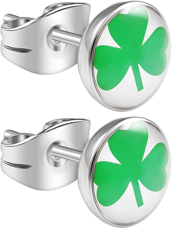 BanaVega 2PCS Surgical Steel Simple Ear Studs Studded Simple Shamrock 20 Gauge Tragus Lobe Earrings Cartilage Piercing Jewelry 3656