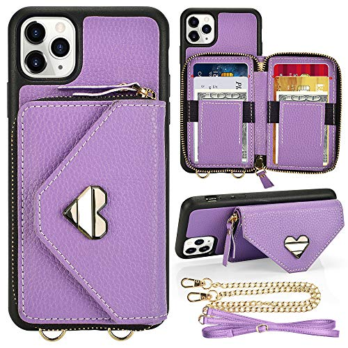 iPhone 11 Pro Max Wallet case, JLFCH iPhone 11 Pro Max Crossbody Case with Zipper Card Slot Holder Wrist Strap Shoulder Chain Leathe Handbag Purse for Apple iPhone 11 Pro Max 6.5 inch - Light Purple