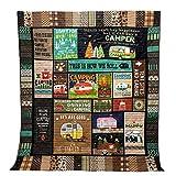 キャンプブランケットサイケデリック色のキャンプハイキングピクニック夏ビーチフリース毛布軽量ポータブル屋外旅行マットガーデンプレイング