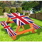 Union Jack Picnic Table With Benches Covers,Classic Traditional Flag United Kingdom Modern British Loyalty Symbol 72' Elastic Edge Fitted Tablecloth Set for Outdoor,Park,Patio,Royal Blue Red White