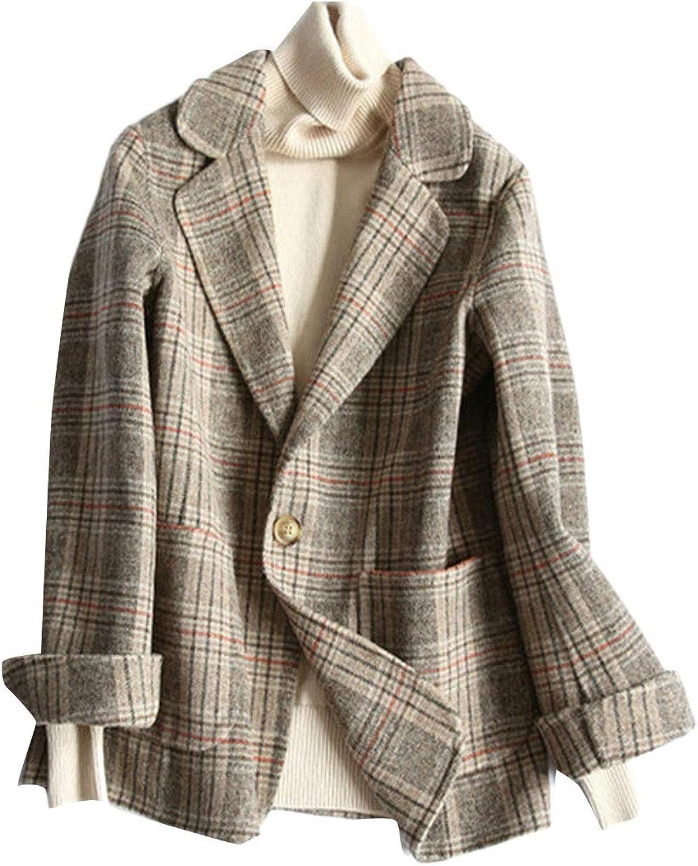XiaoTianXinWomen XTX Womens Loose Checkered WoolBlended Notched Lapel Blazer Coat Jackets