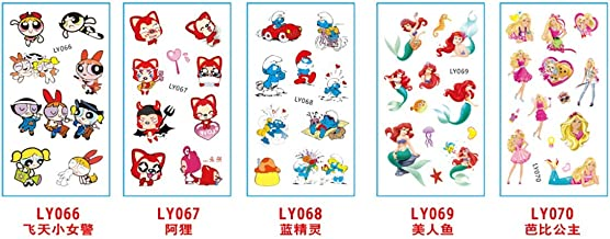 5 Sheets Cartoon Kids Temporary Tattoos Body Sticker - for Boys Girls - Waterproof Colorful Tattoos | Smurfs | Princess | Barbie | Removable, NONTOXIC (66-70)