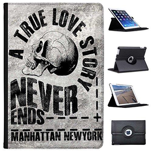 "Grunge Kult divertimento Arte Teschio hipster Musica Case Cover/portafoglio in similpelle per il Apple iPad nero True Love Story Never Ends Apple iPad Pro 10.5"" (2017)"