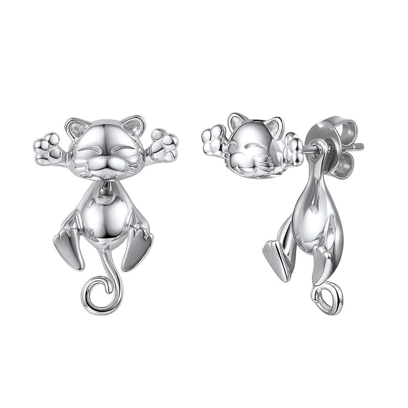 SILVERCUTE 925 Silver Cute Pig/Panda Bear/Dog/Cat Earrings Stud Solid Sterling Jewelry Kiss me Hug Me 3D Kitten Earring