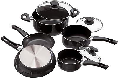 Ecolution PFOA Free, Tempered Glass Steam Vented Lids Elements Nonstick Cookware Set, 8 Piece, Gray
