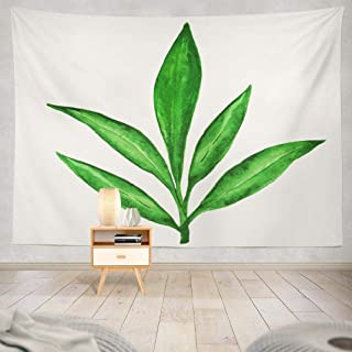 ONELZ Watercolor Branch Tapestry, Wall Hanging Tapestry, Watercolor Branch Green Leaves Tea Tree Art Decor Collection Bedroom Living Room 60 L x 80 W Polyester Watercolor Branch