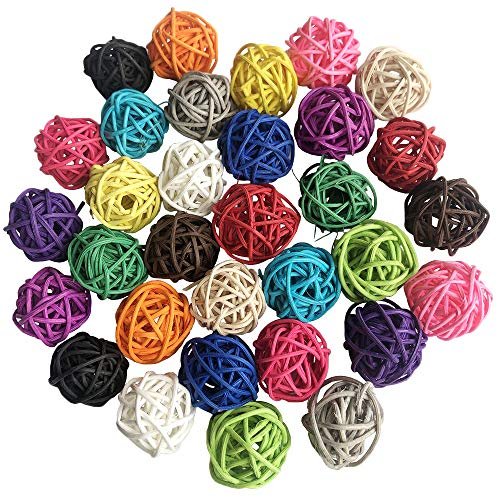 Benvo Rattan Balls 32 Pack 1.2 inch Wicker Ball Birds Toy Parrot Parakeet Chewing Toys Pet Cage Bite Toys Decorative Ball Orbs Crafts DIY Accessories Vase Fillers (Multi-Colored)