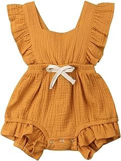 566581c6c78 Baby Girls Rompers GoodLock Summer Newborn Infant Color Solid Ruffles  Backcross Romper Bodysuit