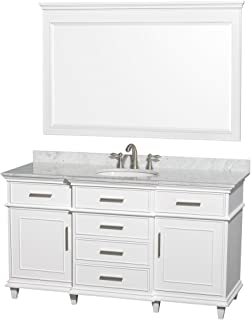 Wyndham Collection Berkeley 60 inch Single Bathroom Vanity in White with White Carrara Marble Top with White Undermount Oval Sink and 56 inch Mirror