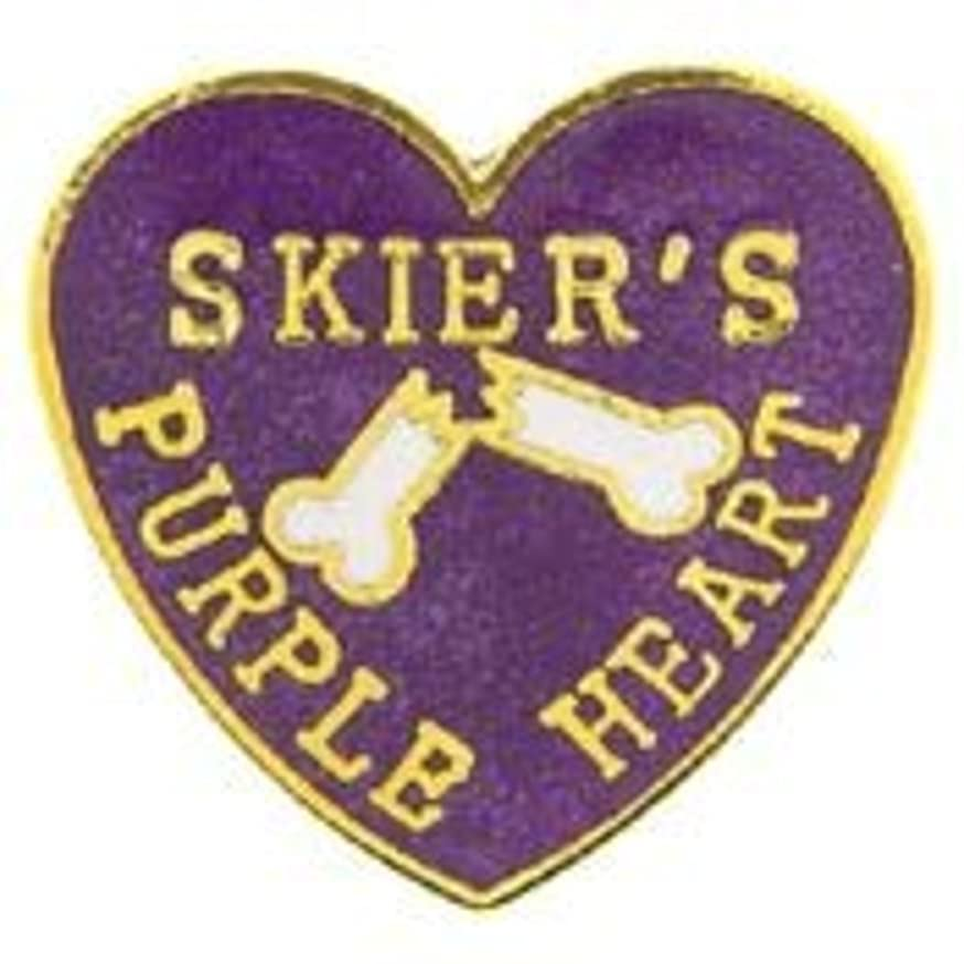 EagleEmblems P00430 Pin-Skier PR Heart (1'')