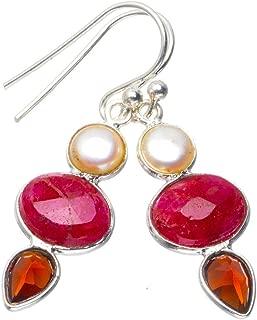 925スターリングシルバー Cherry Ruby ユニークなハンドメイド 耳飾り 3.81cm Cherry レッド B2287